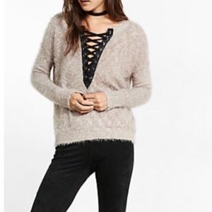 Express Fuzzy Lace Up Sweater